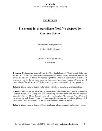 José Manuel Rodríguez Pardo, El sistema del materialismo filosófico después de Gustavo Bueno