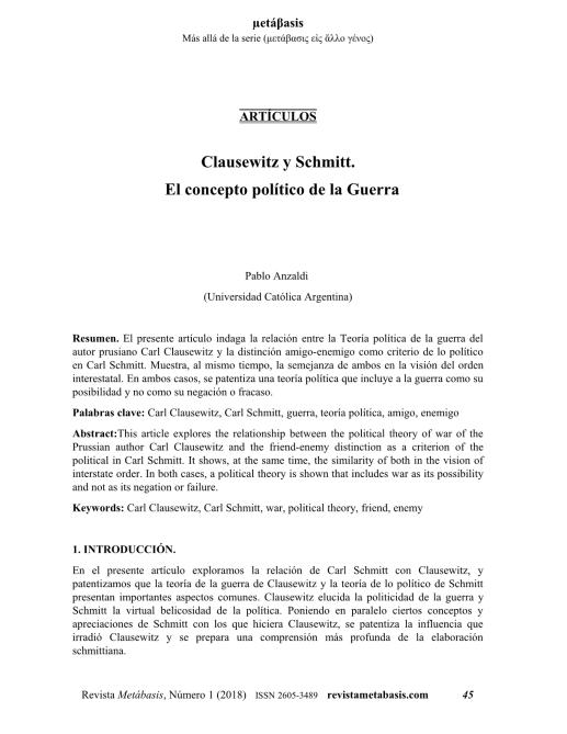 Pablo Anzaldi, Clausewitz y Schmitt. El concepto político de la Guerra