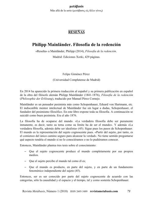 Felipe Giménez Pérez, Philipp Mainländer. Filosofía de la redención