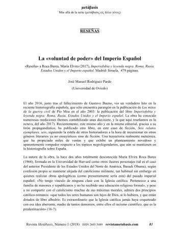 José Manuel Rodríguez Pardo, La «voluntad de poder» del Imperio Español
