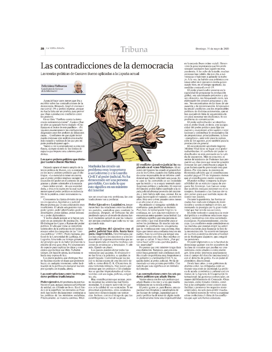 Las contradicciones de la democracia, LNE, 31-5-20201