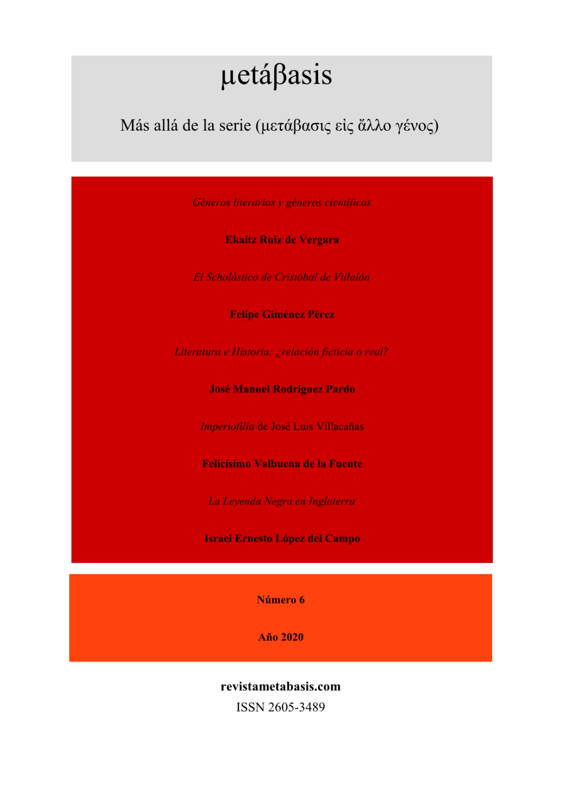 Revista Metábasis Número 6 (2020) Tapa 21
